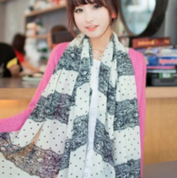 1629 2013 silk scarf autumn and winter female lace quality dot chiffon scarf long cape
