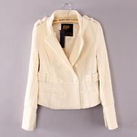 Ol elegant brief women's slim stand collar epaulette short design woolen outerwear female