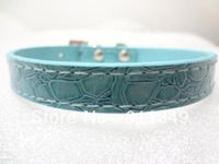 Free Shipping Pet Products Puppy Dog Cute Collars PU Leather with Rhinestone Charm Blue Large
