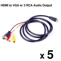 5Pcs/Lot 1080P 5 Feet 1.5m Gold-Plated HDMI Male To VGA 3 RCA Audio Video AV Adapter Connector Cable for HDTV DVD Free Shipping
