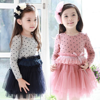 Free shipping 2014 supernova sale children clothing 2~6age navy/pink polka dot dress long sleve lace vintage baby girls dresses