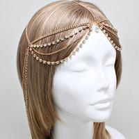 Bohemian Gold Clear Crystal Head Chain Headpiece, Grecian headchain, House Of Harlow Style Gypsy head jewelry, Wedding Headchain