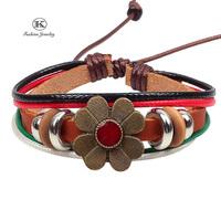 2014 New Fashion Jewelry Charm Genuine Leather Handmade Bracelet with Braided rope Women Vintage Style Bracelets