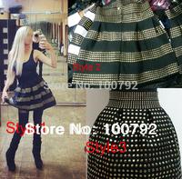 14 Style  New In 2014 Womens Studded Skirts Fluffy Rivet Skirts  High Waist Elastic Bandage Ball Gown Plus Short Denim Skirt