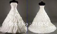 New White/Ivory Sweetheart  Embroidery Taffeta Chapel A-Line Wedding Dresses Bridal Gowns SZ 6+8+10+12+14+16
