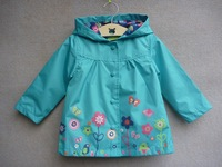 free shipping,2014new item,Foreign original,Children's clothing waterproof trench,baby with a hood outerwear  ( topolino)