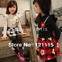 Retail 1PC new 2014 spring children clothing girls long sleeve flower dress
