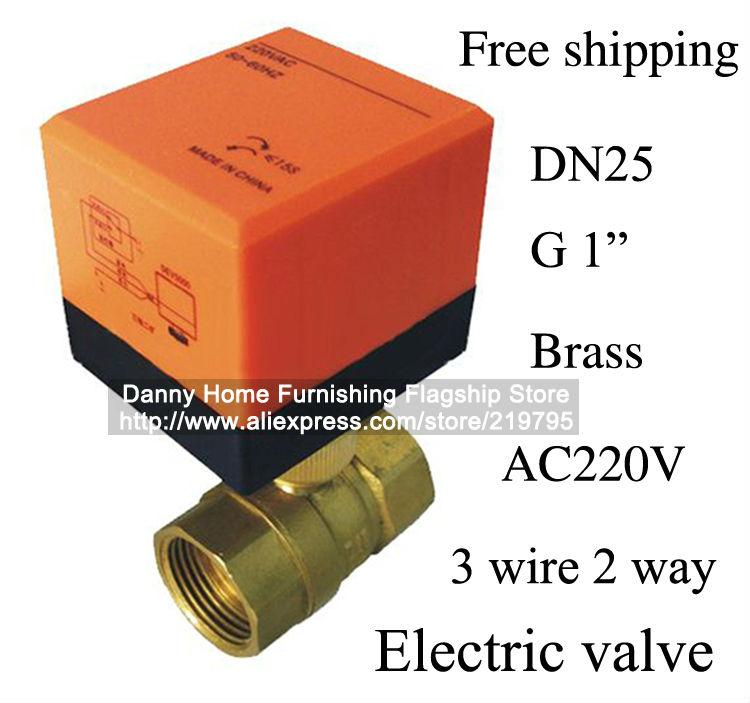 Free shipping DN25 electric actuator valve,Cold&hot water/Water vapor/heat gas 2 way Brass Motorized Ball Valve,220VAC,CE(China (Mainland))