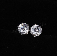 Free shipping!!!2014 Fashion platinum plated with cubic zirconia 6mm Brass Stud Earring