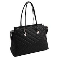 Women's handbag black shiny plaid one shoulder handbag female 02 big