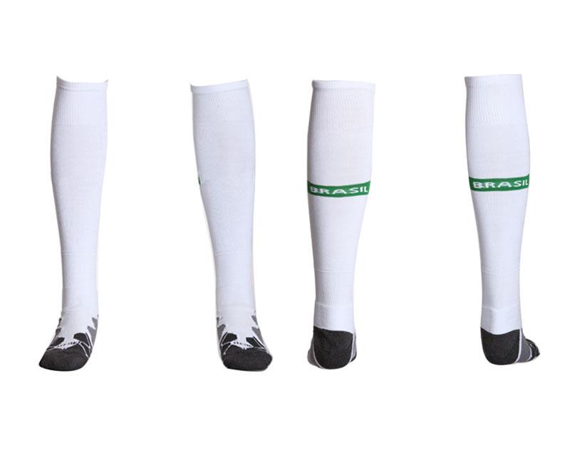 free shipping best quality Brazil white Thai socks brazil soccer socks men(China (Mainland))
