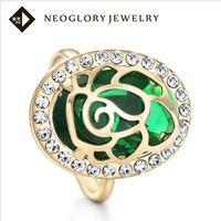 Neoglory Zircon Alloy Czech Rhinestone14k Gold Plated Adjustable Rings for females Fashion Jewelry Statement 2013 New Arrival