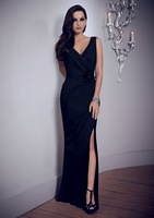 V-neck Strappy Pleated Cutting Off Sexy Navy Blue Fashionable Mother Of The Bride Gowns 2014