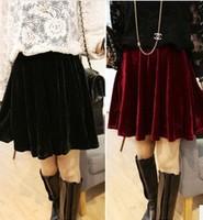 Free Shipping New Arrive Vintage Women's Soft High Waist Velvet Skater Pleated A-line Short Elasticsed Skirt