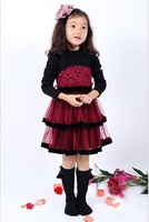 The new spring 2014 long sleeve girl big child chiffon dress baby clothes princess dress