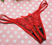 12pcs fahion women's Butterfly thongs sexy lace panties underwear g string wholesale 5 colors