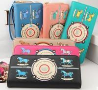 fashion PU women wallets vintage cartoom horse girl gift bag women leather handbags free shipping