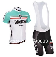 2014 New Tour De France Pro Team Kit Bianchi Cycling Wear Bike Sets Cycling Short Sleeves Jersey+Bib Shorts Cycling Clothes