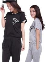 Free Shipping Hot-Selling Summer New Fashion Skull Short-Sleeve Harlan Pants Sweatshirt Casual Female Set 1028 XL-XXL-XXXL-XXXXL
