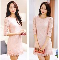 Brand 2014 Elegant Sweet Slim lace Plus Size Seven Sleeve Dress Knee-length Free Shipping 11053