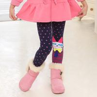 2013 children's clothing legging child boot cut jeans love print cat plus velvet thickening trousers