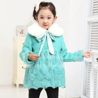 Children's clothing female child winter woolen outerwear princess embroidery organza detachable fur collar overcoat 98063