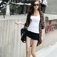 Bust 120 plus size Leopard sun protection clothing women chiffon cardigan leopard print thin shirt clothing