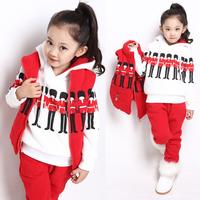 2013 children's clothing female child autumn and winter sweatshirt set child vest sweatshirt piece set fashion