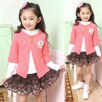 Children's clothing female child 2013 autumn set fashion princess sweater fashion short skirt piece set b006