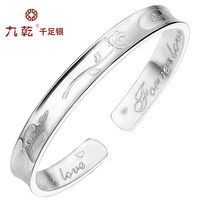 with a certificate genuine s999 999 pure sterling silver Bohemian female ladies' opening bangle girlfriend's and lover's jewelry