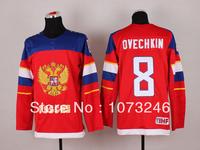 Wholesale 2014 Team Russia Alex Ovechkin Jersey #8 Sochi Winter Russian Federation Ice Hockey Jersey Best Sewing Quality