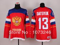 Team Russia #13 Pavel Datsyuk Jersey Hot Sale 2014 Sochi Winter Russian Federation Red Ice Hockey Jersey Best Quality All Sewn