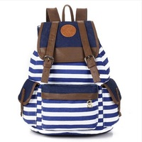 Free shipping Hot 2014 Han edition colorful stripe color  leisure backpack institute owind restoring ancient ways canvas bag