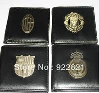 Hot sale! Free shipping football fan pu faux leather wallet/purse with big european clubs' team logo, football fan souvenirs
