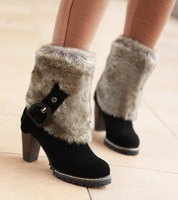 2014 New Women's Winter Fur Buckle Decorated High Thich Square Heel Ankle Boots Black/Rusted Red/Brown Sent From Russia