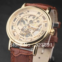 FREE SHIPPING  new men fashion  hollow engraving leather hand wind mechanical wrist watch gift
