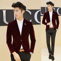 2014 NEW fashion star style Onta decoration pleuche men's suit korea England style velour blazer men hot design 202-x27