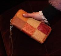 2014 new Cowhide genuine leather bag  for men.ldesign wallet clutch zipper horizontal small change folder testificate wallets