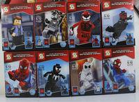 The Spiderman Action Figures Toy 8pcs/set American Hero The Avengers Toys Super Hero DIY Building Block Bricks Marvel Figures