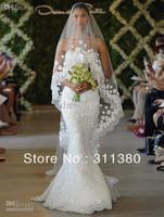 New elegant mermaid Oscar del la Renta Spring Bridal Strapless Taffeta lace floor length Mermaid Wedding dresses Custom Made
