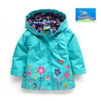 Free shipping retail hot fashion 2014 spring & autumn girls beautiful flower windbreaker jacket ,baby Outerwear