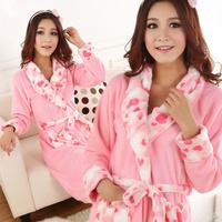 2015 New Arrival Fashion Autumn Winter Core Sweet Love Coral Fleece Women's Robe Bathrobes Lady Loungewear Free Shipping AZ208