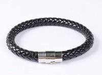 High quality stainless steel leather braided bracelets men jewelry men bracelets wholesale