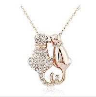 Fashion Austria Crystal  18KPersonality full rhinestone necklace lovely cat lovers Necklace  wholesale B7.5