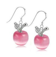 Fashion  Apple Silver Cat's eye stone earring Plating Platinum B10 earrings