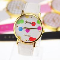 2 colors New Arrival Spots Leather GENEVA Watch For Ladies Women Dress Watch Quartz Watches 1piece/lot