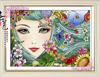 DIY diamond painting retail 50*35CM 3D full square resindiamond cross stitch rhinestone pasted Girl Free shipping