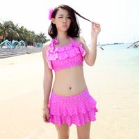 beach wear Dress split triangle female swimwear set layered dress steel push up swimsuit hot springs  swimwear
