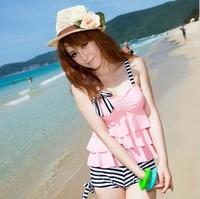 beach wear Middot . cute wind female hot spring swimwear split cake swimwear  swimwear