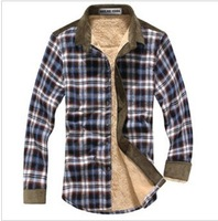 Winter Warm Velvet Shirts Men Thicken Long-sleeves Shirt Plaid Casual Shirt Men Drop Shipping 3
